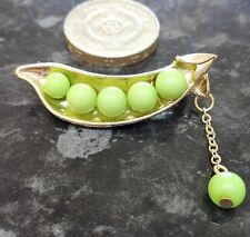 Gold Plated Pea Pod Peas in a Pod Brooch Twins Dangling Pea
