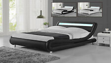 Modern Designer LED Headboard Low Bed Frame Single Double King Size Black White