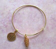 pine cone- 24k gold finish Bangle Charm bracelet - genuine