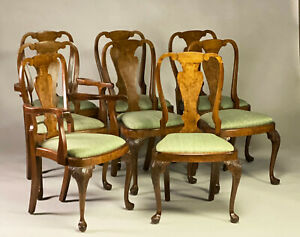 SET OF 8 ANTIQUE QUEEN ANNE STYLE WALNUT DINING CHAIRS.