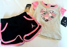 NEW Girls air JORDAN CHICAGO size sz 6 9 months 2pc set shirt shorts PINK black