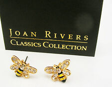 """Joan Rivers PIERCED BEE Gold tone  Earrings with Crystals  1/2"""""""""""