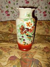 Antique Victorian H.P. Bristol Milk Glass Jumbo Vase Floral & Bird 19th Cen