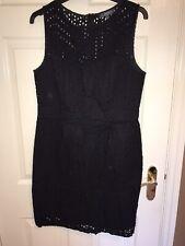 AMPHORA TK MAXX Black Broderie Knee Length Waisted Dress Size L UK 14