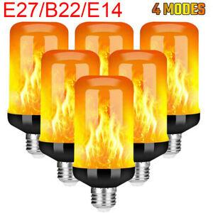 E27 B22 E14 96 LED Burning Light Flicker Flame Bulb 4 Modes Fire Effect Lamp UK