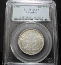 ISRAEL, PALESTINE, 100 MILS, 1935, AU-58, PCGS, SILVER