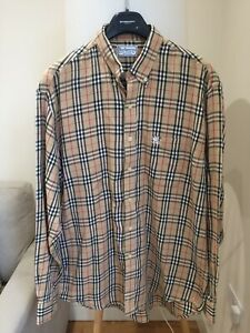 Vintage 90s Burberry Nova Check Long Sleeve Shirt Large XL 43 L