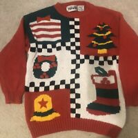 VIntage Knit Works Red Knit Ornaments Ugly Christmas Tree Sweater