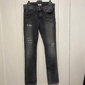 Mens Tommy Hilfiger Slim Scanton Grey Distressed Denim Jeans W 32 L 34
