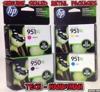4-PACK HP GENUINE 950XL Black & 951XL Color Ink (RETAIL BOX) Exp 2021  SEALED