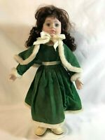 "15"" Vintage Porcelain Victorian Girl Doll Soft Body with Doll Stand"