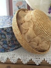 1980s Vintage Romantic Summer Straw Hat Flowers Boho Original Box🌸