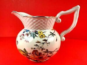Grace Tea Ware White Floral Basket Weave Creamer