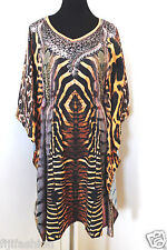 Kaftan Top animal Print blouse dress Crepe  tunic dolman sleeves - for women