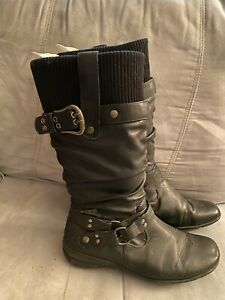 Black Faux Leather and fabricBoots Size 8.5
