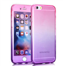 New 360 Degree Gradient Color Full Body Front Soft Clear TPU Silicone Case Cover