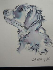 Original pen & ink wash dog drawing profile portrait on ivory paper