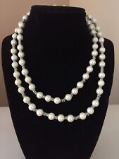 VTG Chaps Faux Pearls Glass Beads Necklace with Silver Tone Beads & Clasp 34""