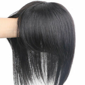 Straight 100% Remy Human Hair Topper Toupee Hairpiece Top piece with Bangs-Us
