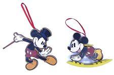Disney Wooden Mickey Mouse Baby Rocker & Magician Mickey Christmas Ornaments