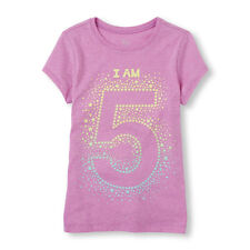 """~NEW~ 5th BIRTHDAY """"I AM 5"""" Years Girls Graphic Shirt 5-6 Small Party Gift! SS"""