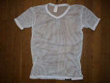 T-shirt blanc Taille M  résille transparent sheer sexy gay Ref M09