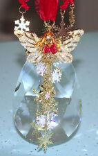 "Kirks Folly Ice Goddess Fairy Angel Lg 5"" Crystal Ornament Goldtone Red Ribbon"