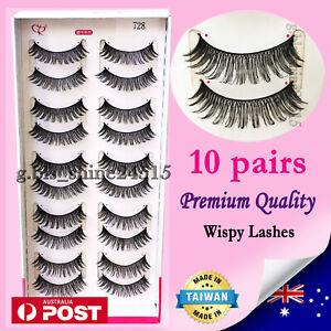 10 Pairs Natural Long Soft Black Fake False Eyelashes Sexy Makeup Party #728