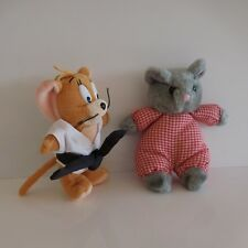Lot de 2 doudous souris figurines peluches vintage design estampe PN France