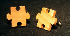 Hand Crafted Elm Wood Jigsaw French Cuff Links - 5 Anniversary Wooden Gift