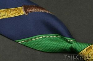"""HERMES SCARF PRINT Blue Novelty 100% Silk Mens Luxury Tie - 3.375"""""""