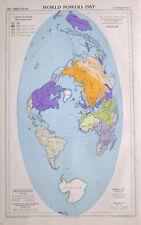 1958 LARGE MAP WORLD POWERS UNITED NATIONS ORGANISATION ATLANTIC TREATY