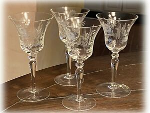 4 Vintage Wheel Cut Flowers Flared WINE Glasses Etched Elegant Stemware Barware