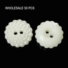 50 PCs Acrylic Sewing Buttons Scrapbooking 2 Holes Flower Off-white Dot Carved