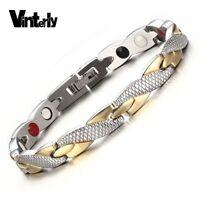 Energy Magnetic Bracelet Men Gold-color Chain Health Bracelet Male Germanium