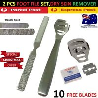Foot Care File Pedicure Kit Hard Skin Cuticle Dry Callus Remover Tool 10 Blades