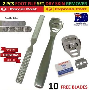 Foot Care File Pedicure Kit Hard Skin Cuticle Dry Callus Remover Tool 10 Blades