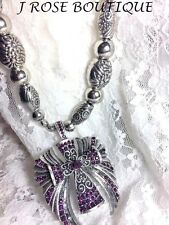 PURPLE JRB COWGIRL CHRISTIAN ANGEL SILVER RHINESTONE WINGS CROSS GOTHIC NECKLACE