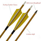 """30""""Carbon Arrows Spine 500Turkey Feather Arrows for RecurveBow&Compound Bow 6P"""
