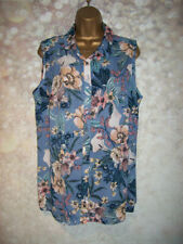 NEW LADIES GEORGE TOP SIZE 16, Blue floral floaty sleeveless blouse tunic shirt