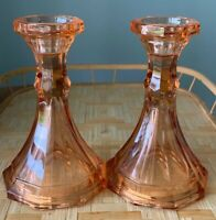 Fostoria Light Pink/Peach Single Taper Candle Holders Set of Two USA Vintage