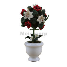 Dollhouse Decoration 1/12 th Scene Model Outdoor Flower Bed Red Rose Tree