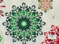 RPG231 Snowflake Winter Christmas Holiday Season Red Green Cotton Quilt Fabric