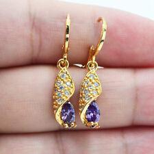 18K Yellow Gold Filled Women Marquise Amethyst Zircon Topaz Gemstone Earrings