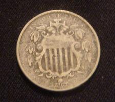 1867 NO RAYS SHIELD NICKEL ORIGINAL COIN NO RESERVE AUCTION