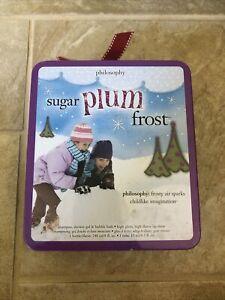 Philosophy Sugar Plum Frost 3 in 1/Lip Shine Gift Tin Box Set *RARE* NIB