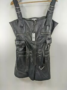 New We Wore What Women'S Size Xl Black Faux Leather Belted Jumpsuit Overalls