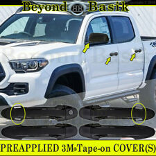 For 2016-2019 TOYOTA TACOMA GLOSS BLACK Door Handle Covers W/SmKy+Mirrors W/o TS