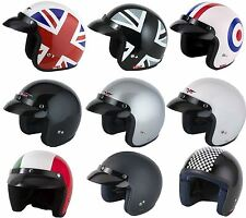 VCAN V500 Open Face Jet Retro Classic Motorcycle Bike Scooter Road Helmet One Black