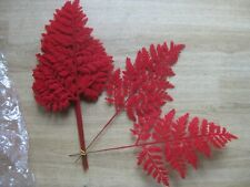12 Stems Artificial Red Flocked Fern